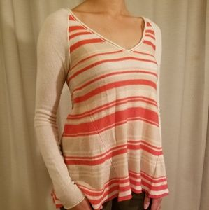 Free People Orange Stripe Sweater Shirt